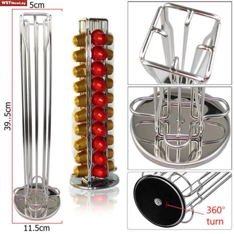 Nouveau Chrome 40 café dosettes capsules Tower Titulaire Organisateur Nespresso Metal Rack
