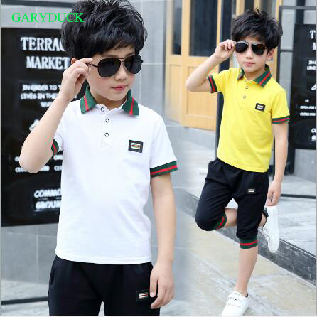 GARYDUCK Boys Suits 2017 Kids Boys Polo Shirt Tops 2017 Fashion Boy Summer Clothing Set T Shirt+Pants Children Boys Clothes Sets family fashion summer tops 2015 clothers short sleeve t shirt stripe navy style shirt clothes for mother dad and children