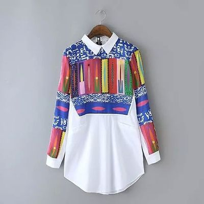 Autumn Womens Ladies Summer Vintage Retro Casual Shirts Long Sleeve Tops Blouse