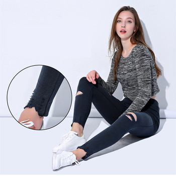 FSDKFAA 2018 Ripped Plus Size XXXXXL Leggings Women Pants Black Punk Thick Jeggings High Waist Legging Slim Trousers 2