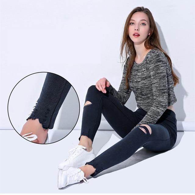 Ripped Knee Fashion Leggings 4