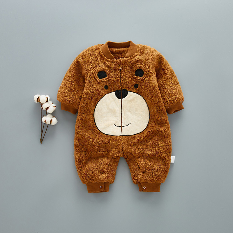 12M-24M Baby Clothing Baby Girl Romper Cotton Zipper Thickening Cute Cartoon Bear Romper Baby Boy Clothes For Rompers Winter V20 6003 aosta betty baby rompers top quality cotton thickening clothes cute cartoon tiger onesie for baby lovely hooded baby winter