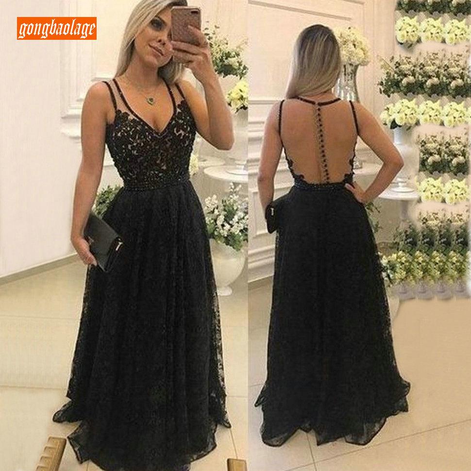 Mode noir dentelle robe formelle femmes robe de soirée 2019 Occasion spéciale robes longues soirée col en V a-ligne sans manches Slim Fit