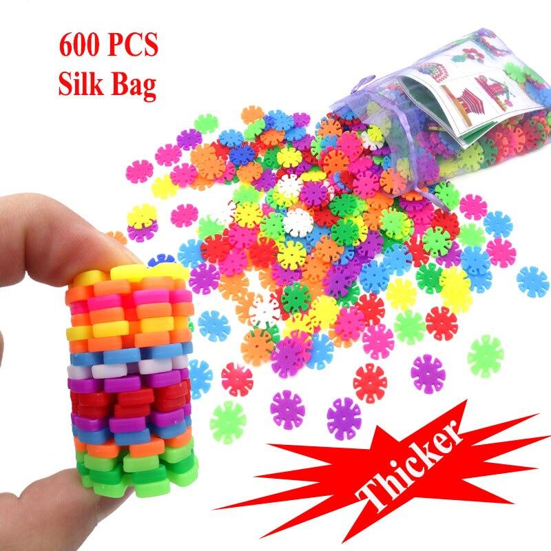 600Pcs Thicker 3D Puzzle Jigsaw Plastic Snowflake Building Blocks Brick Educational Toys For Children With Instructions new building blocks ninja emmet wyldstyle sheriff gordon zola bad cop robo swat brick toys for children l009 016