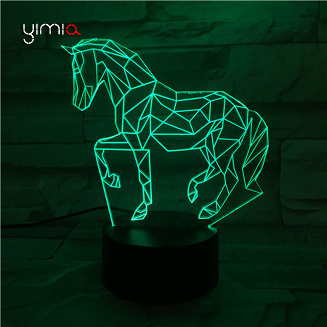 YIMIA Fine Horses 3D Night Lights Luminaria Motion Sensor USB LED Remote  Table Lamps Home Decoration