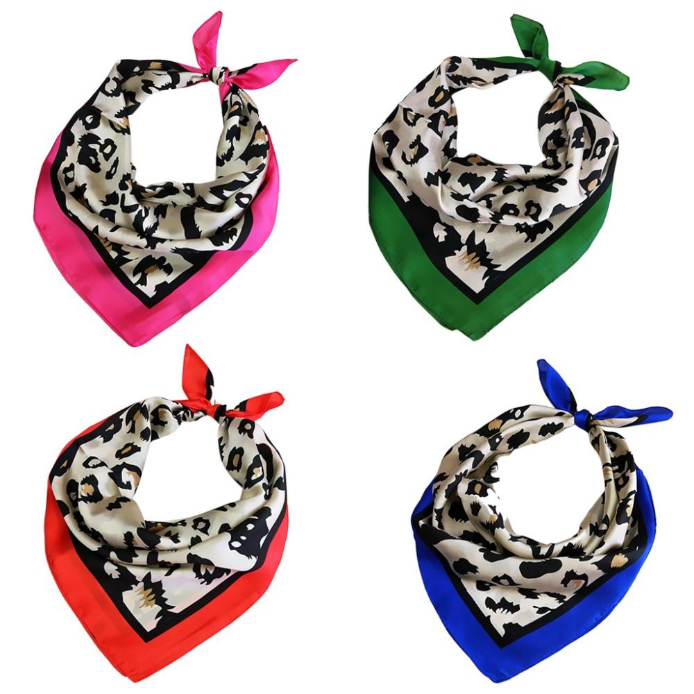 Womens Retro 70x70cm Multifunction Polyester Silk Scarf Sexy Leopard Print Satin Square Small Scarves Wraps Shawl Shawls