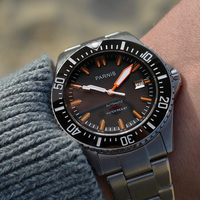 Парнис автоматические дайвер часы водостойкие 200 м Металл механические часы с черным циферблатом сапфировое стекло Лучшие дешевые продажи