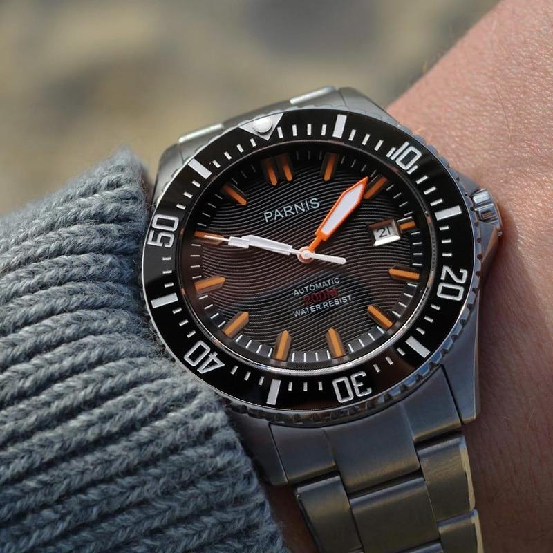 6805bab34 43mm parnis automático Diver reloj impermeable 200 m metal mecánica relojes  negro dial cristal de zafiro mejor Venta barata PA6007 envíos gratuitos en  todo ...