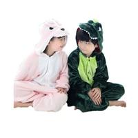 Cute Kids One Piece Pajamas Cartoon Dragon Dinosaur Thick Sleepwear For 3 10yrs Chilren Boys Girls