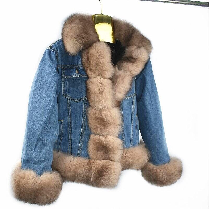 2018Women's dernière naturel fourrure de renard Court denim veste Épaisse fourrure Coton doublure De fourrure de Lapin doublure Denim veste Réel fourrure Européenne
