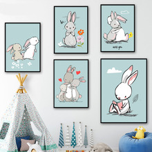 7-Space Cartoon Rabbit Family Canvas Painting Animals Wall Art Posters And Prints Nordic Style Kids Decoration Nursery Pictures