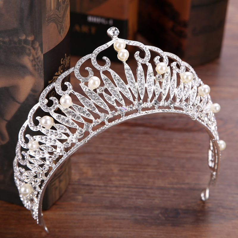 Vintage Silver Rhinestone Pearl Bride Tiara Crown Hair Jewelry Queen Crown For Wedding Exquisite Hair Accessories vintage gold round crystal tiara baroque rhinestones princess queen crown for bride hair accessories wedding crown hair jewelry