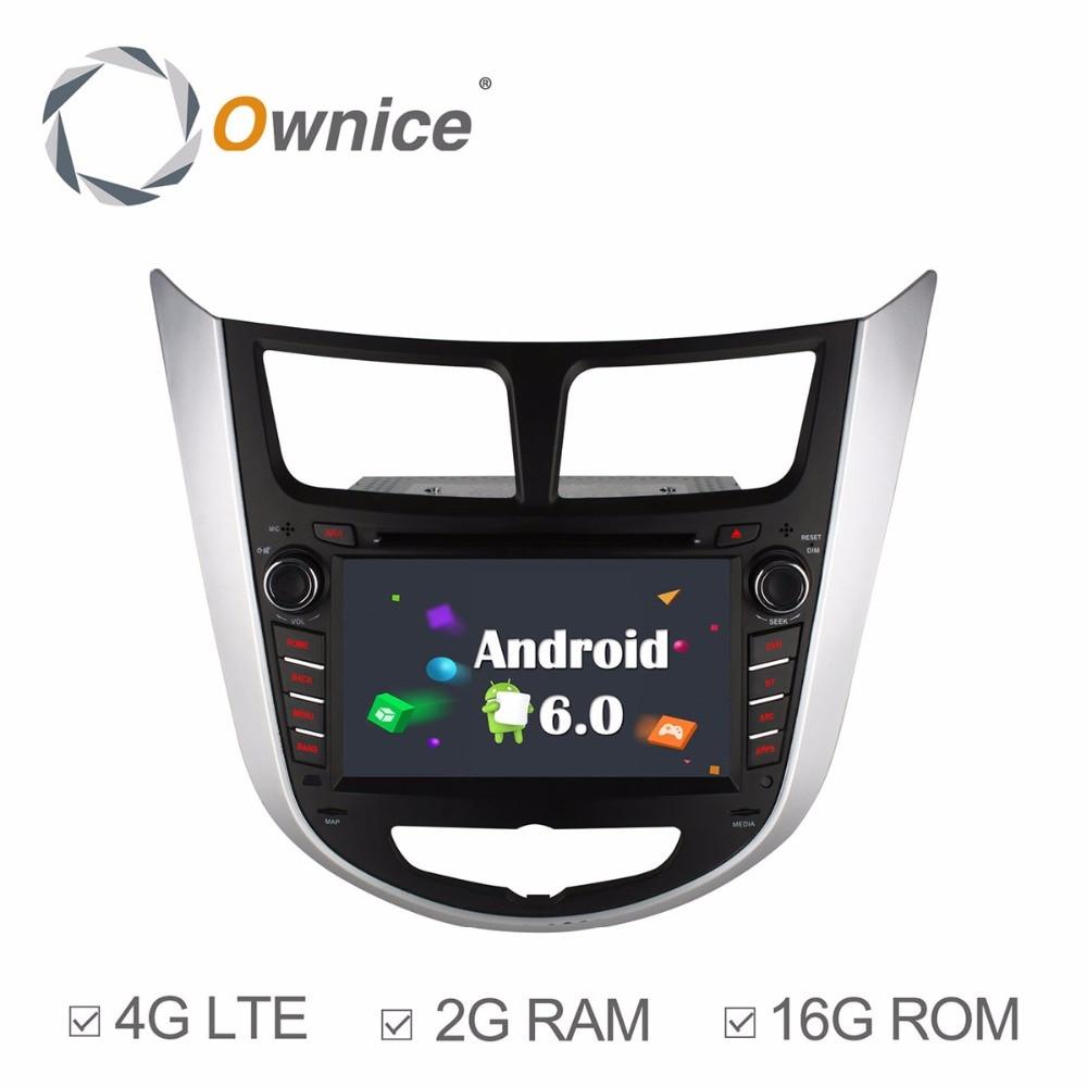 HD 1024X600 Quad Core 2GB RAM Android 6.0 Car DVD Player For HYUNDAI Accent Verna Solaris i25 2011 2012 2013 Radio GPS 4G LTE