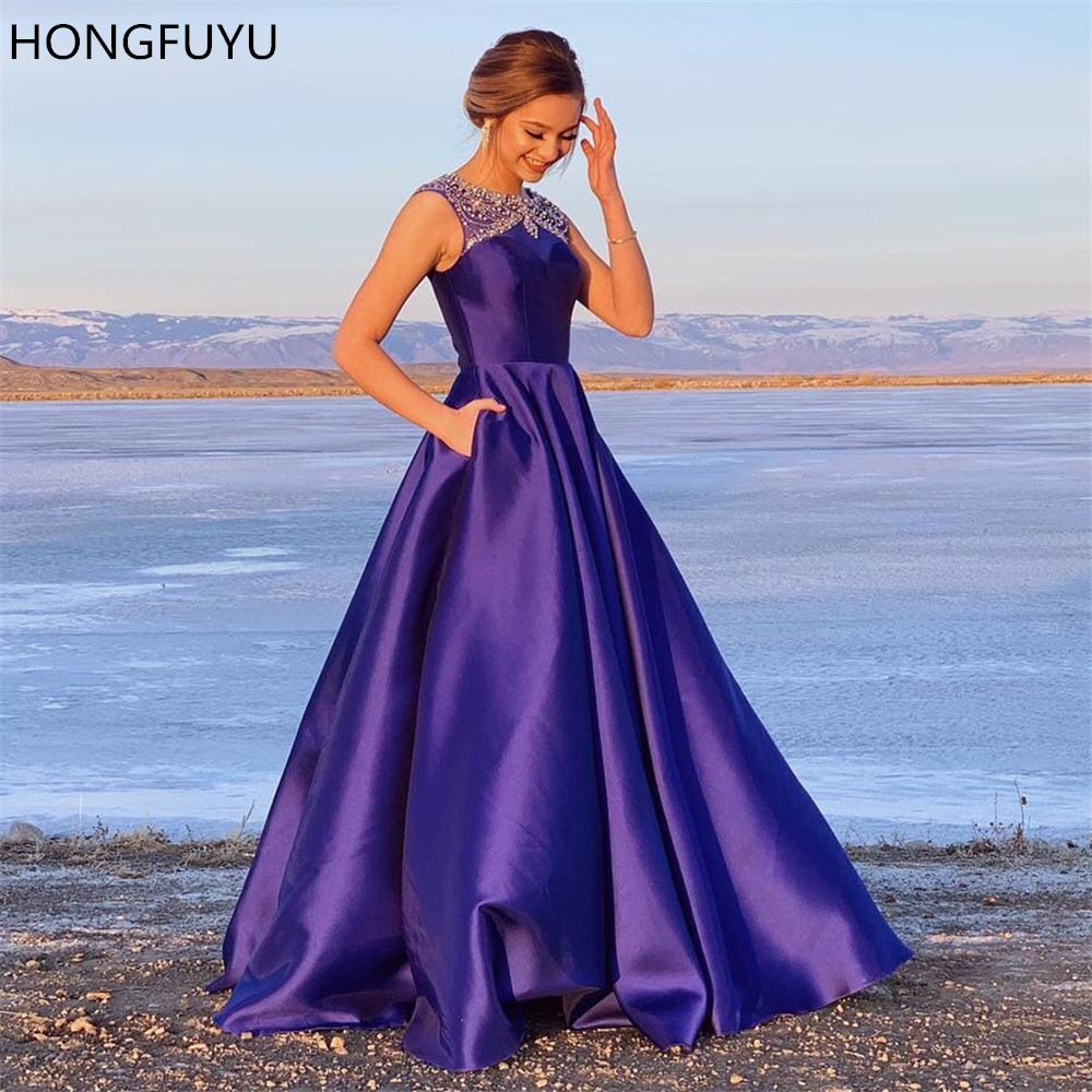 HONGFUYU Prom Dresses Satin 2020 O-neck Beading A-line Formal Party Gowns Sleeveless Evening Dress Long With Pockets Purple