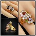 High-end Brand Luxury 18K Real Gold Plated Big Multicolor Flower Crystal Ring Candy Wedding Rings For Women Girls