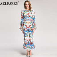 Luxury Romantic Female 2 Pieces Fashion Full Flare Sleeve Summer Floral Print Short Top High Quality