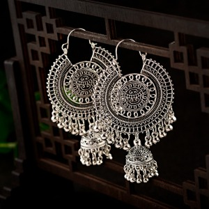 Ethnic Retro Big Round Turkish Bells Indian Jhumka Earrings Women's Classic Vintage Turkey Silver Color Tassel Earrings Bijoux(China)