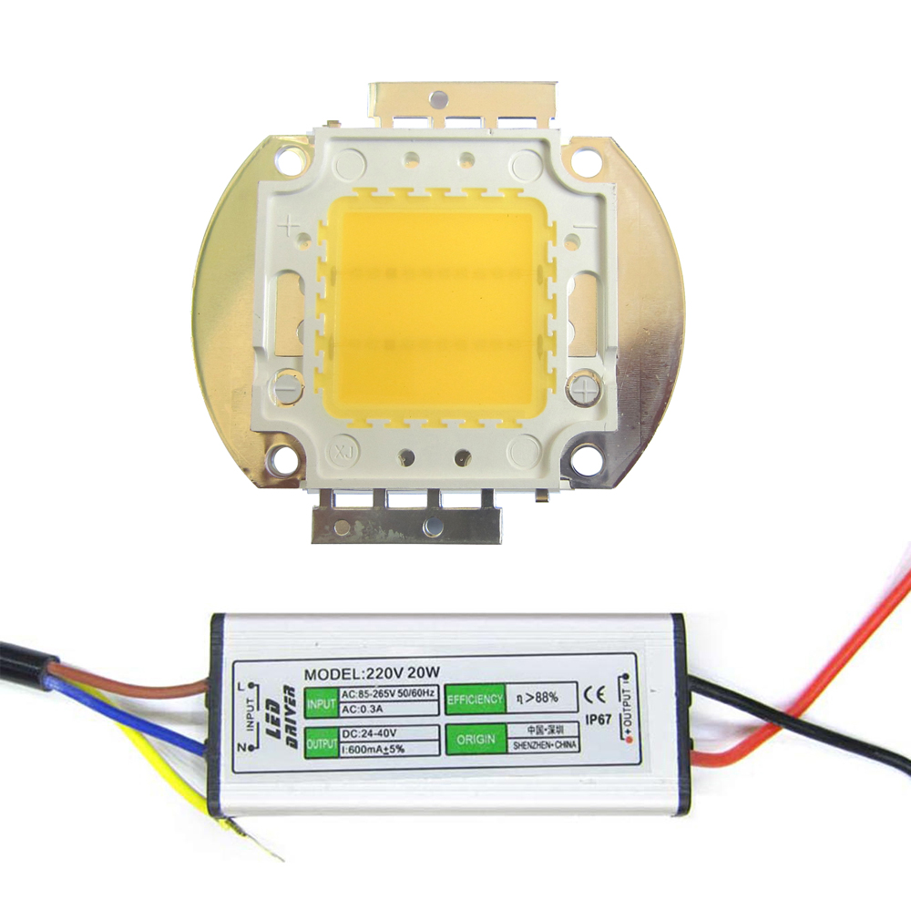 High Power 20w 45mil White Full Spectrum 380~780nm LED Light Emitting Diodes + 20w AC Waterproof LED Driver For Plant Grow Light