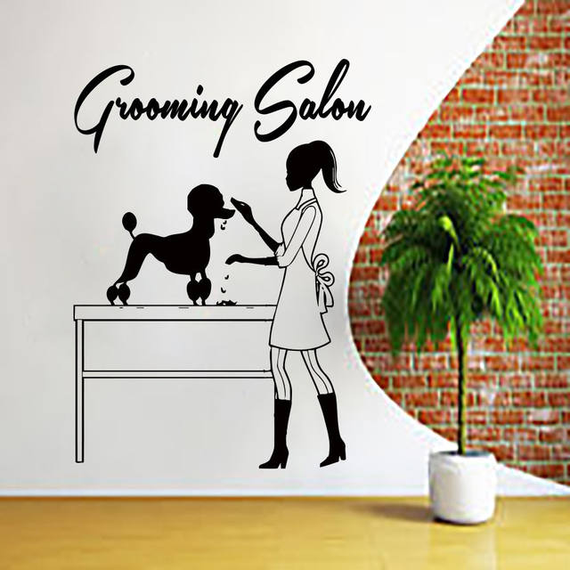 Dog Wall Decal Grooming Salon Sticker Pet Art Decoration Pets Door Window Decor Ay907