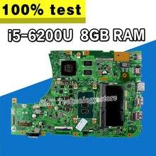 X556UJ X556UV материнская плата для ноутбука ASUS X556U X556UQ X556UQK X556UF X556UR X556UB плата i5-6200 GT930M/GT920M 8 GB Оперативная память