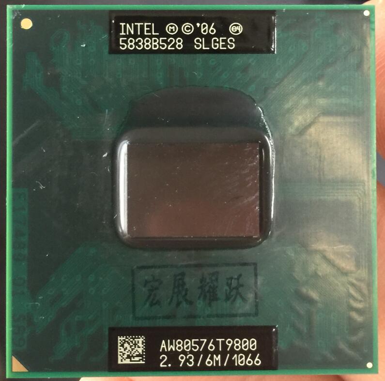Processeur pour ordinateur portable Intel Core 2 Duo T9800 processeur pour ordinateur portable CPU PGA 478 CPU 100% fonctionnant correctement