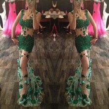 Sexy Grün Tattoo Prom Kleider Lange See-Through Appliques Kristall Meerjungfrau abendkleid kleid für graduation Bow chic Dame kleid