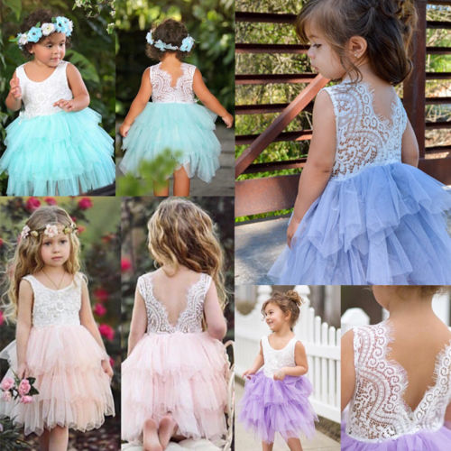 Cute princess Dress Infant Baby Girl Lace Tulle Backless Tutu Dresses Sleeveless Party Pageant Ball Gown dress Clothes 1-5Y infant toddler girls dress lace cake dresses children princess backless tutu party gown 1st birthday vestido summer clothes 1 6y