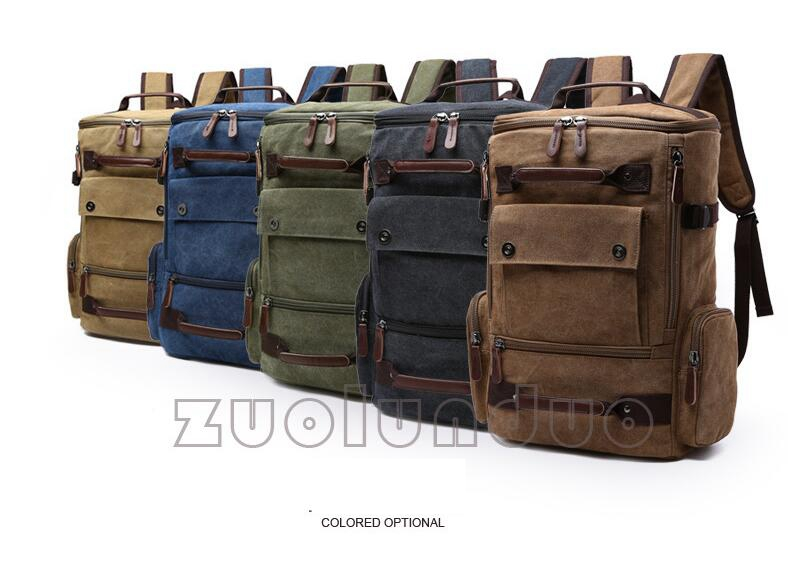 d80f4ef8ad Zuolunduo Canvas Backpack Men Laptop Rucksack School Bag Travel ...