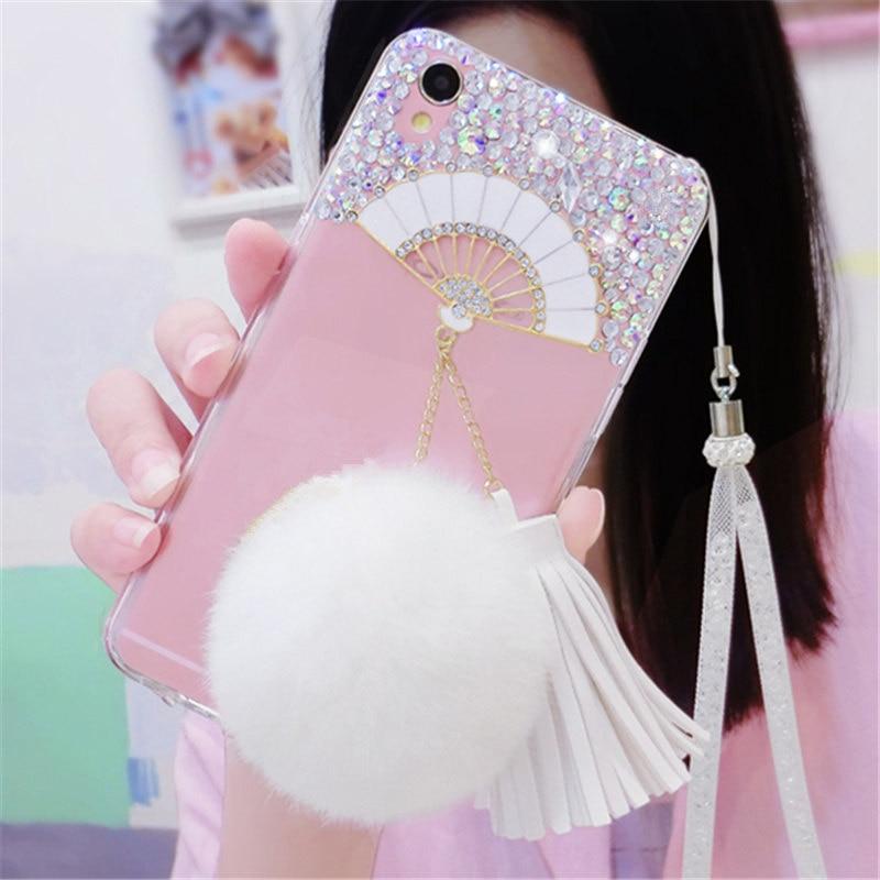3d Fan Luxury Glitter Bling Rhinestone <font><b>Phone</b></font> <font><b>Case</b></font> Soft <font><b>Tassels</b></font> Fur Ball Back Cover For SamsungS3 S4 S5 S6E+ S7E S8 PLUS N3 N4 N5