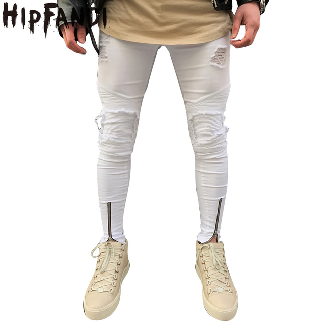 ed5e0218104 HIPFANDI 2018 Men Casual Skinny Jeans Pants Men Solid Pencil Jeans Ripped  Beggar Jeans with Knee Zipper for Youth Denim Pants