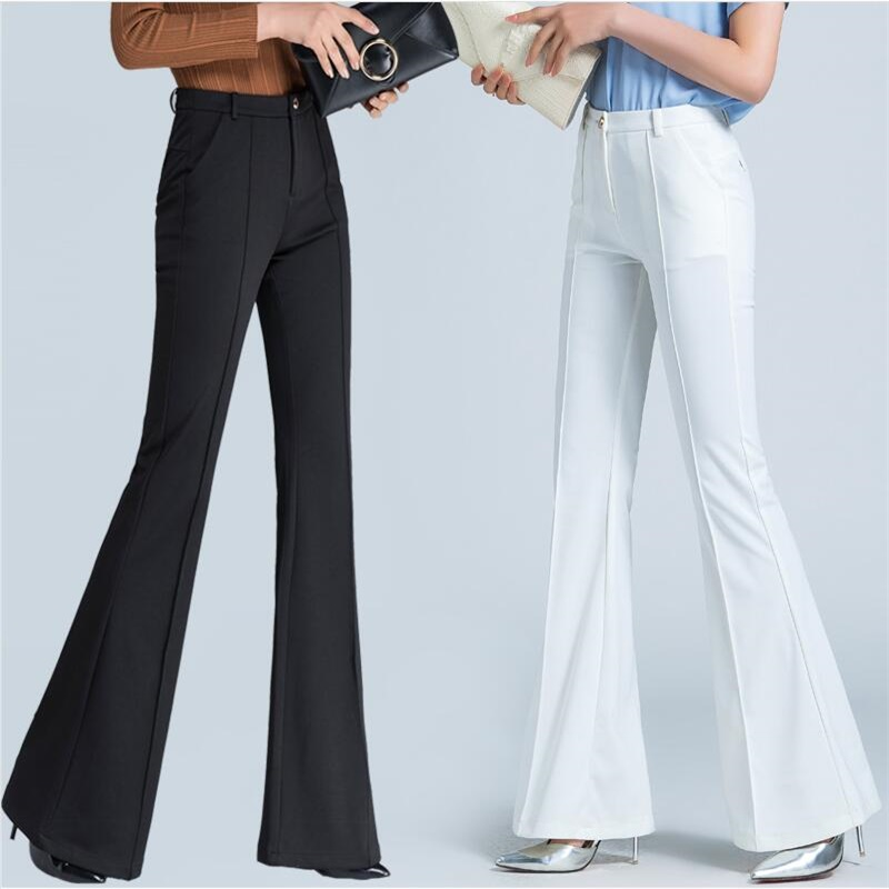 Overalls female black high waist Casual   pants   summer Slim large size flared   pants   female loose   wide     leg     pants   trousers