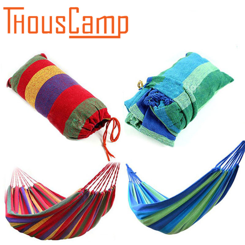 Portable outdoor Leisure Garden Sports Home Travel Camping Swing Canvas Striped Hanging Bed Hammock 3 Color