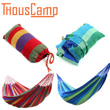 Portable leisure travel swivel hammock outdoor thickening with hooks camping swing canvas striped