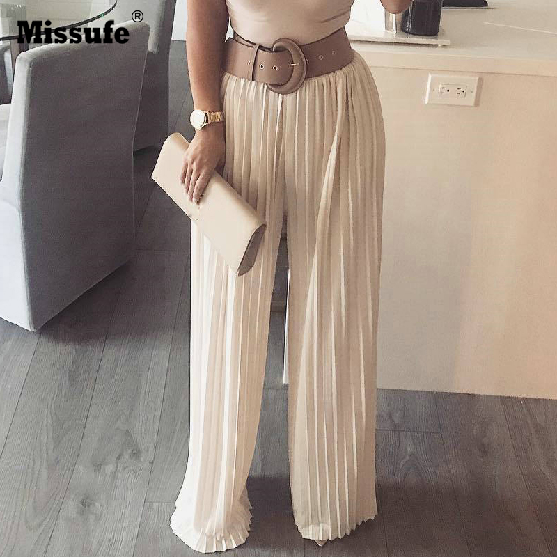 Missufe 2018 Fashion Casual Elastic Waist Full length Trousers Brief Pleated Long   Pants   Women Streetwear   Wide     Leg     Pants   Women