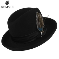 Classical Jazz Cap Pure Wool Fedoras Men Felt Hat With Beauty Feather Male Vintage Curved Brim Woolen Billycock Top Hat