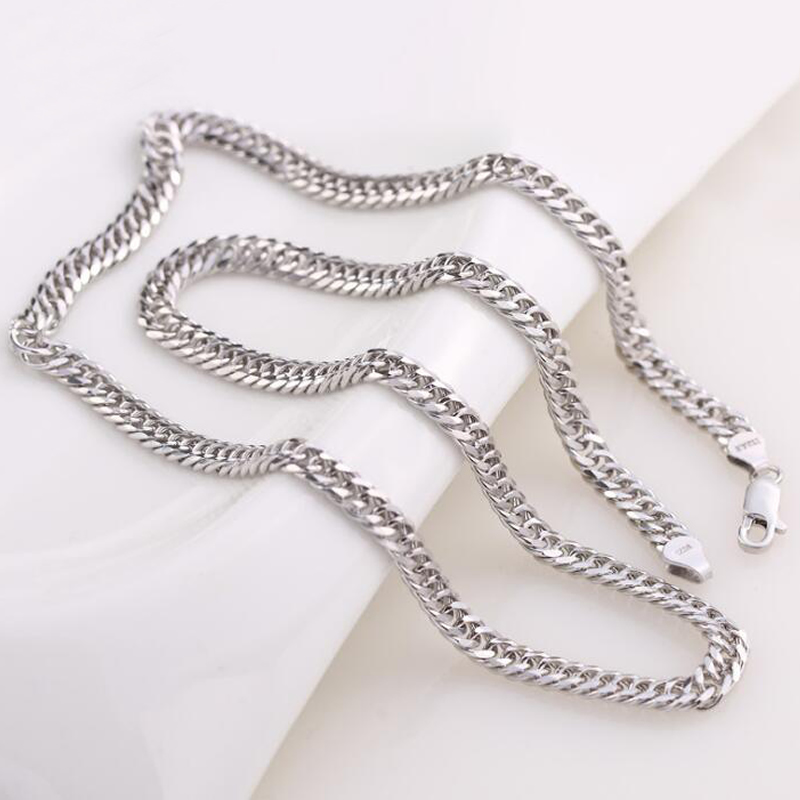 New Arrival Pure 925 Silver Necklace Chain Men s 6MM Boss Necklace Chain