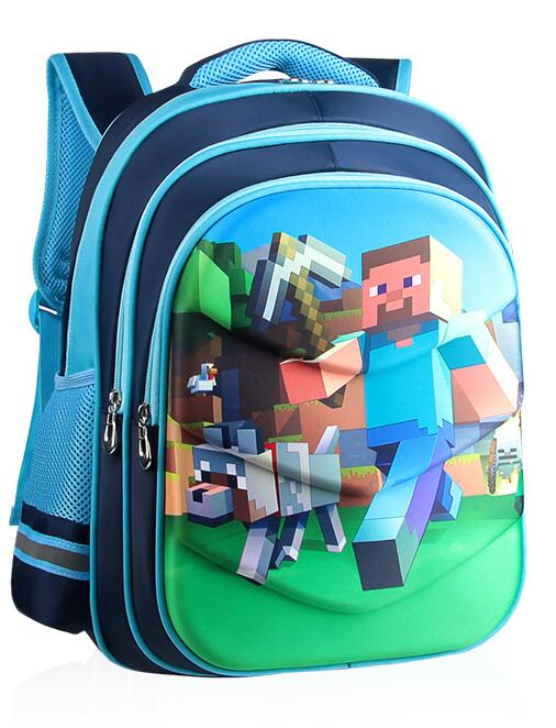 4 Styles Minecraft Game 3D Print Backpack Children Primary School Bag Reflective Stripe Cartoon Children's Gift Bag Toys Party