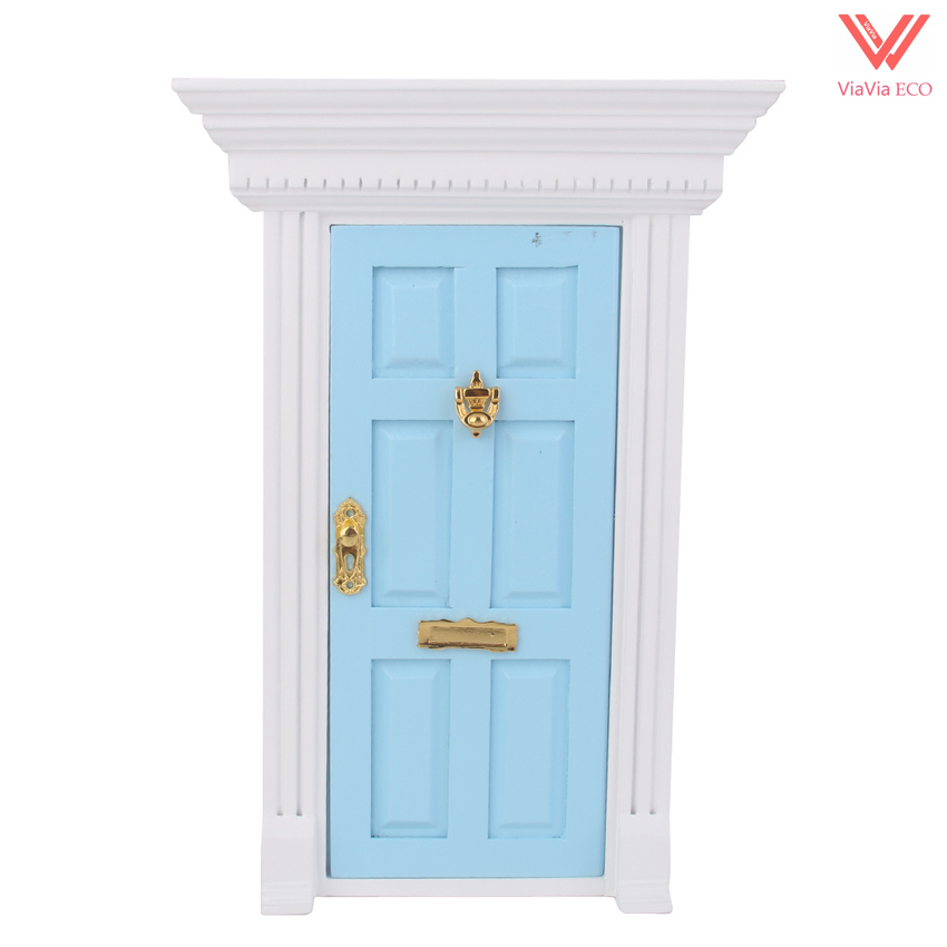 oMoToys 1:12 Dollhouse Luxury Wooden Blue Exterior Door 6 Panel with Frame and Key for Miniature Doll Home Decorations