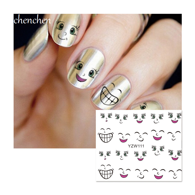 Water sticker for nails art all decorations sliders smile expression ...