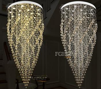 Lustres de Cristal Lustre moderno Iluminação Montagem Dupla Escadaria LEVOU Pingente Lâmpada Para Foyer Sala de Jantar Restaurante Decoração