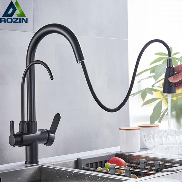 Rozin Purification Kitchen Faucets Black Pull Out Kitchen Water Filter Tap 3 Way Mixer torneira para cozinha de parede Crane 1