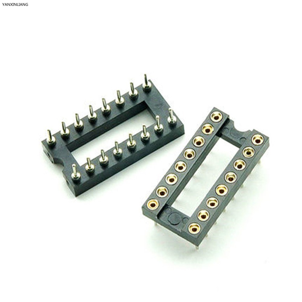 10PCS 16 Pin Round DIP IC Socket Adapter 16Pin Pitch 2.54mm Connector