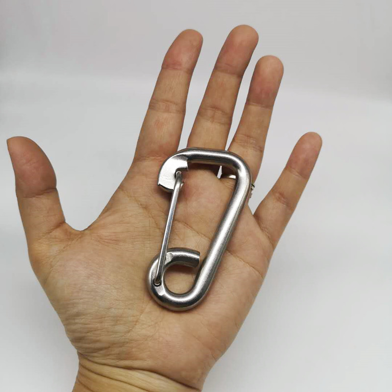 4PCS 80mm Silver 304 Stainless Steel Carabiner Spring Camping Climbing M8 Snap Hook