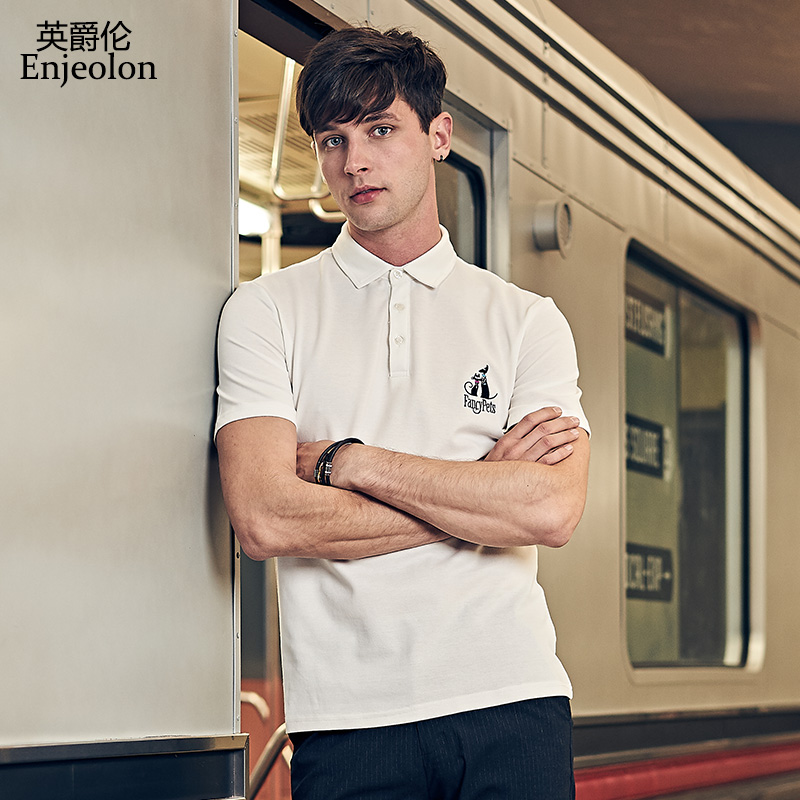 Enjeolon Brand New Summer Mens Casual Short Sleeve Polo Shirts Men Cat Embroidery Cotton Polo For Men Tops Tee T8985