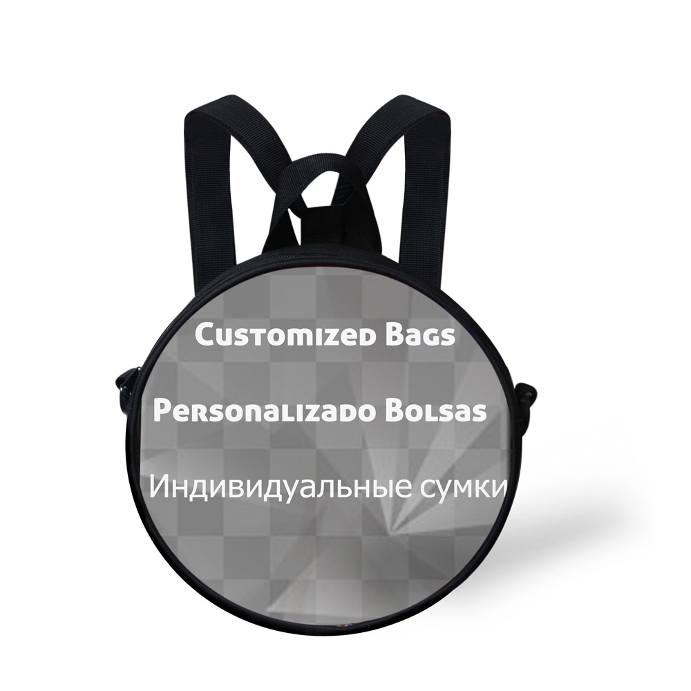 ELVISWORDS Customized Round Shape School Bags for Kindergarden Baby Cats Dogs Animals Printing Messenger Bags for Animals Lovers in School Bags from Luggage Bags