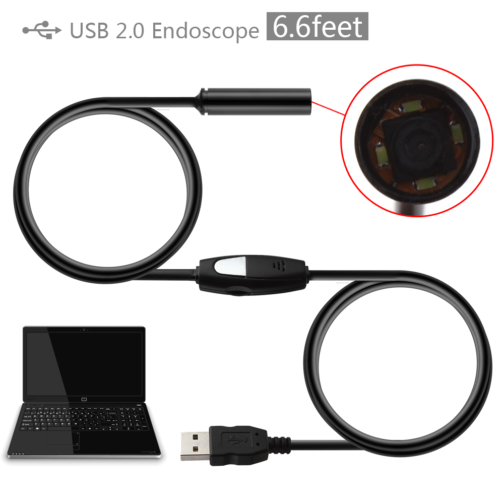 2m Cable Waterproof 10mm Lens Mini Handheld USB Endoscope Inspection Camera Borescope Tube Snake Scope 4 LEDs