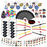 84pcs Bracelet Pirate Party Decorations Tattoo Pirate Girl Birthday Party Favors For Kids Boy Anniversaire Pirate Eye Patch