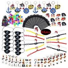 84 pçs pulseira pirata decorações festa, tatuagem, pirata, menina/menino, lembranças de festa de aniversário para crianças, aniversário, olho pirata remendo adesivo