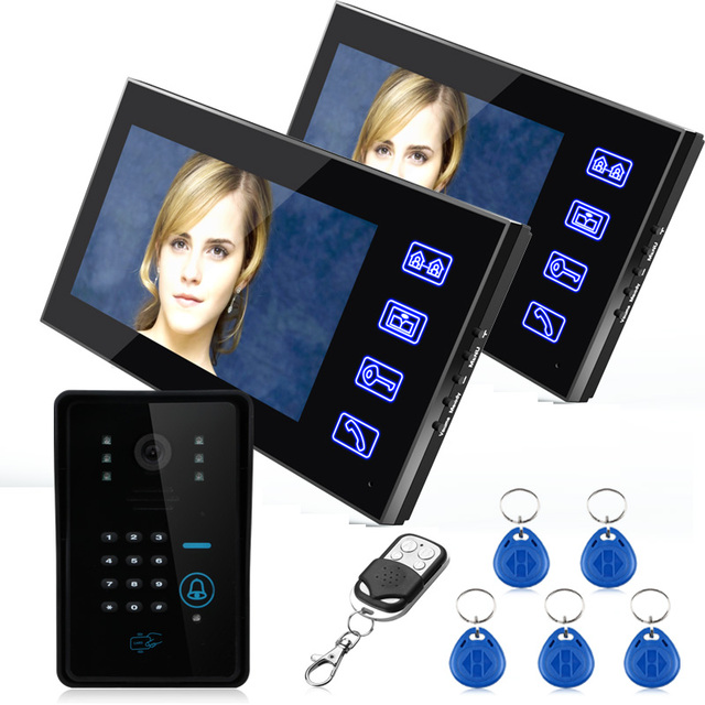 "7"" TFT Two Monitors  RFID Password Video Door Phone Intercom Doorbell With IR Camera 1000 TV Line Remote Access Control System"