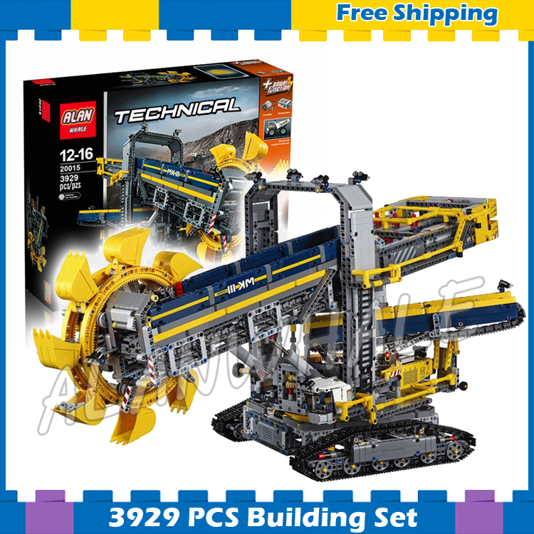 3929pcs 2in1 Techinic 20015 Bucket Wheel Excavator Mobile Aggregate Processing Bricks Model Building Blocks Compatible With lego 1401pcs 2in1 techinic motorized crawler